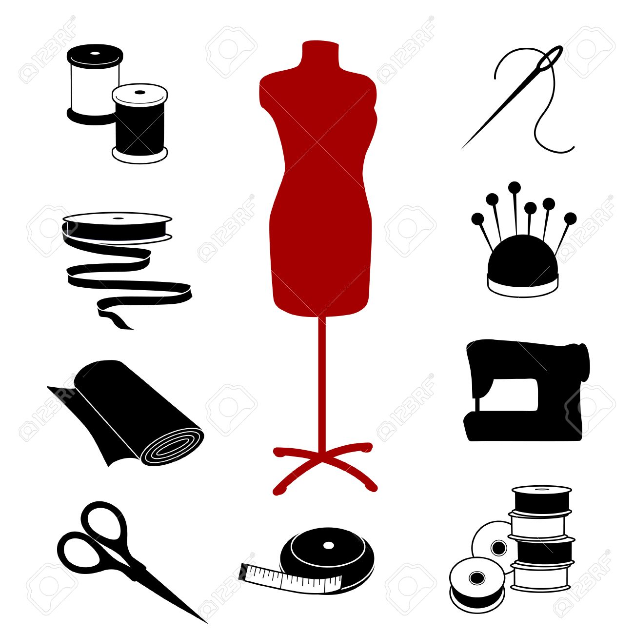 Crafts Black And White Design Sewing Tailoring Icons Fashion Model Tools Supplies For