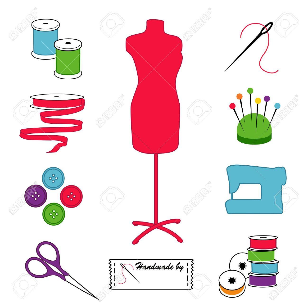 Näh- Und Schneider Icons, Mode-Modell, Werkzeuge, Zubehör Zum Nähen ...
