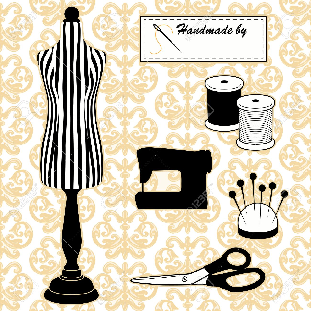 Sewing Fashion Model Mannequin In Black And White Stripes, Vintage ...