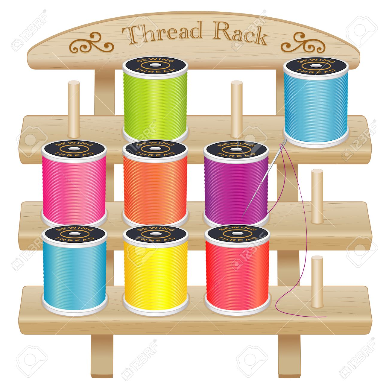 Vector - Wood Thread Spool Storage Rack engraved text and scrolls three pine shelves with pegs silver needle summer bright color threads for sewing ...  sc 1 st  123RF.com & Wood Thread Spool Storage Rack Engraved Text And Scrolls Three ...