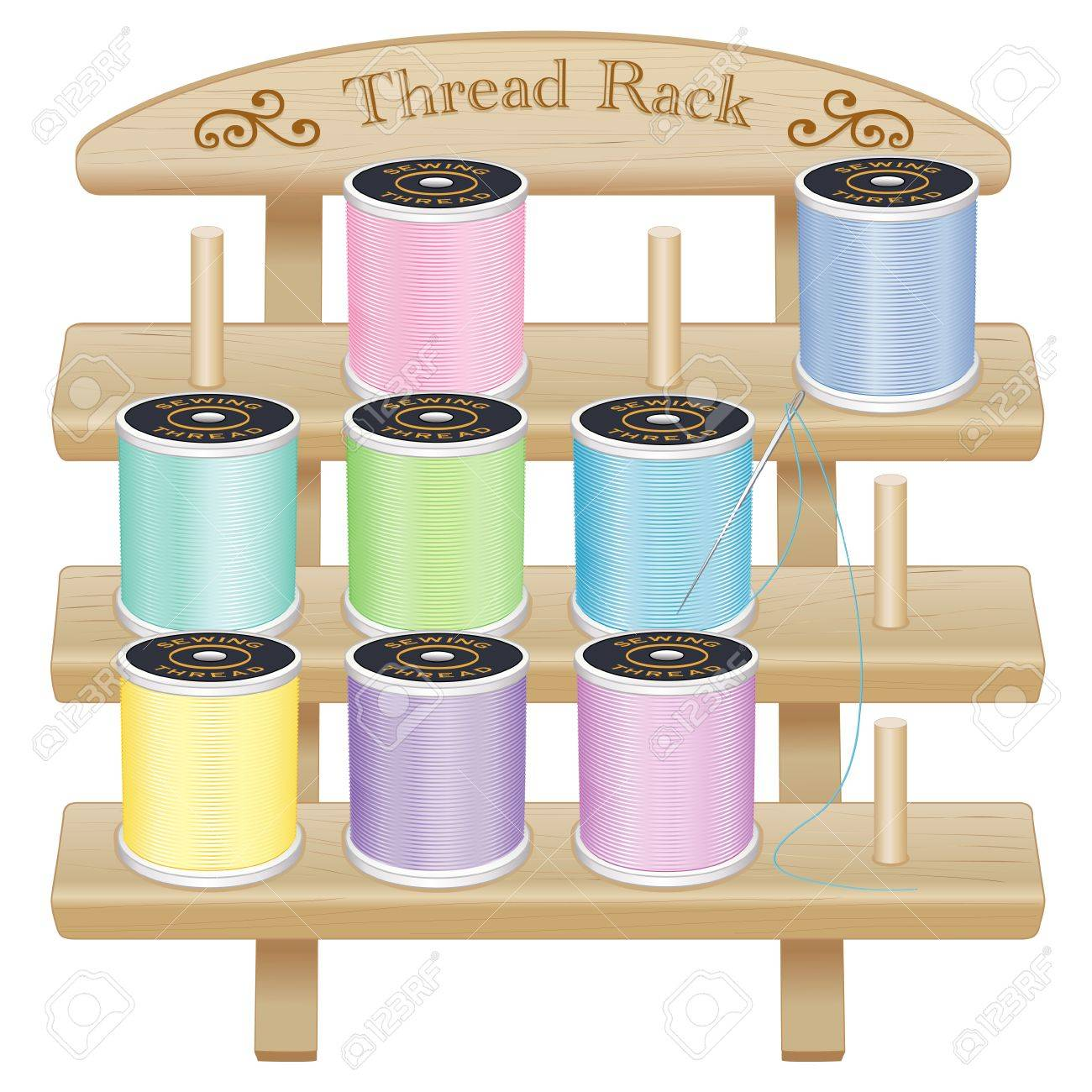Vector - Wood Thread Spool Storage Rack engraved text and scrolls three pine shelves with pegs silver needle pastel threads for sewing tailoring ...  sc 1 st  123RF.com & Wood Thread Spool Storage Rack Engraved Text And Scrolls Three ...