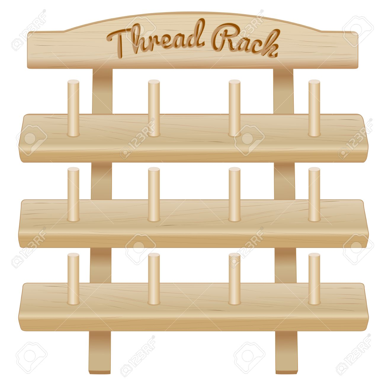 Charmant Wood Thread Spool Storage Rack, Engraved Text, Three Pine Shelves With Pegs  For Sewing