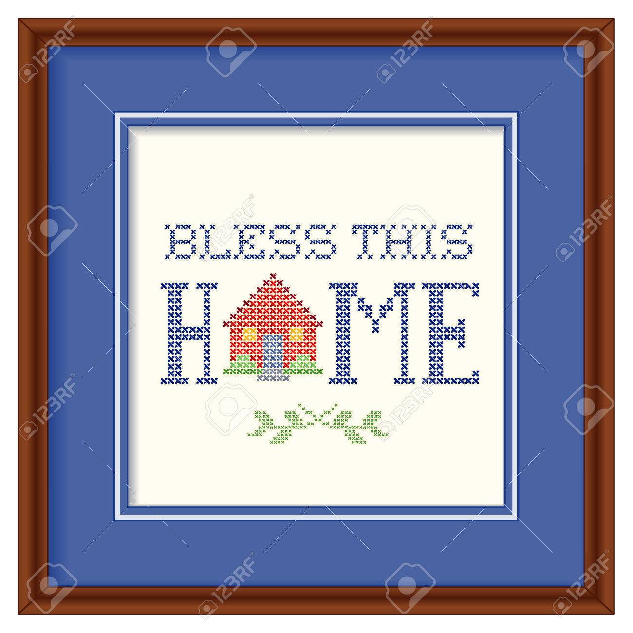 Bless This Home Retro Cross Stitch Embroidery Design, Needlework ...