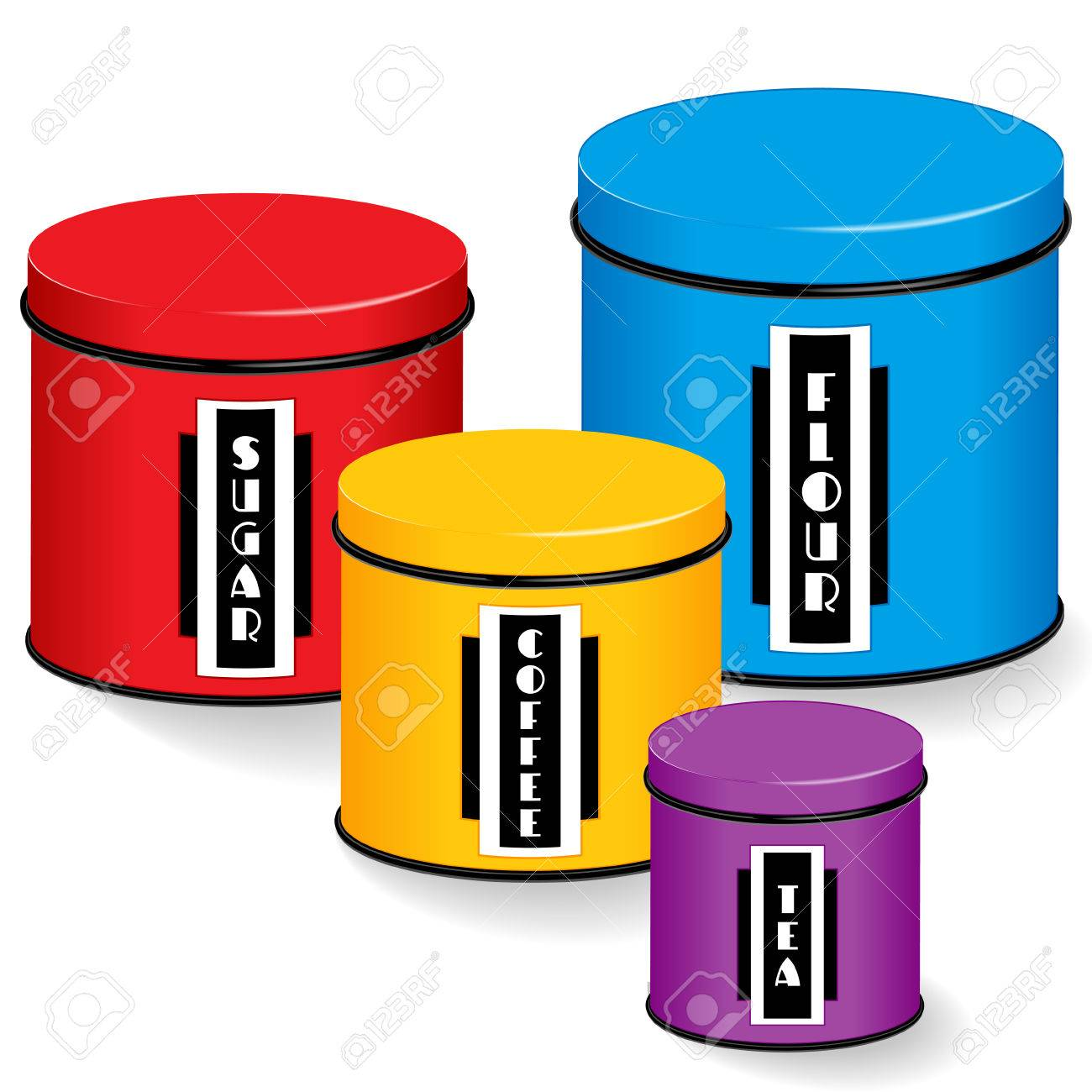 Kitchen Canister Set, group of four multi color kitchen food..