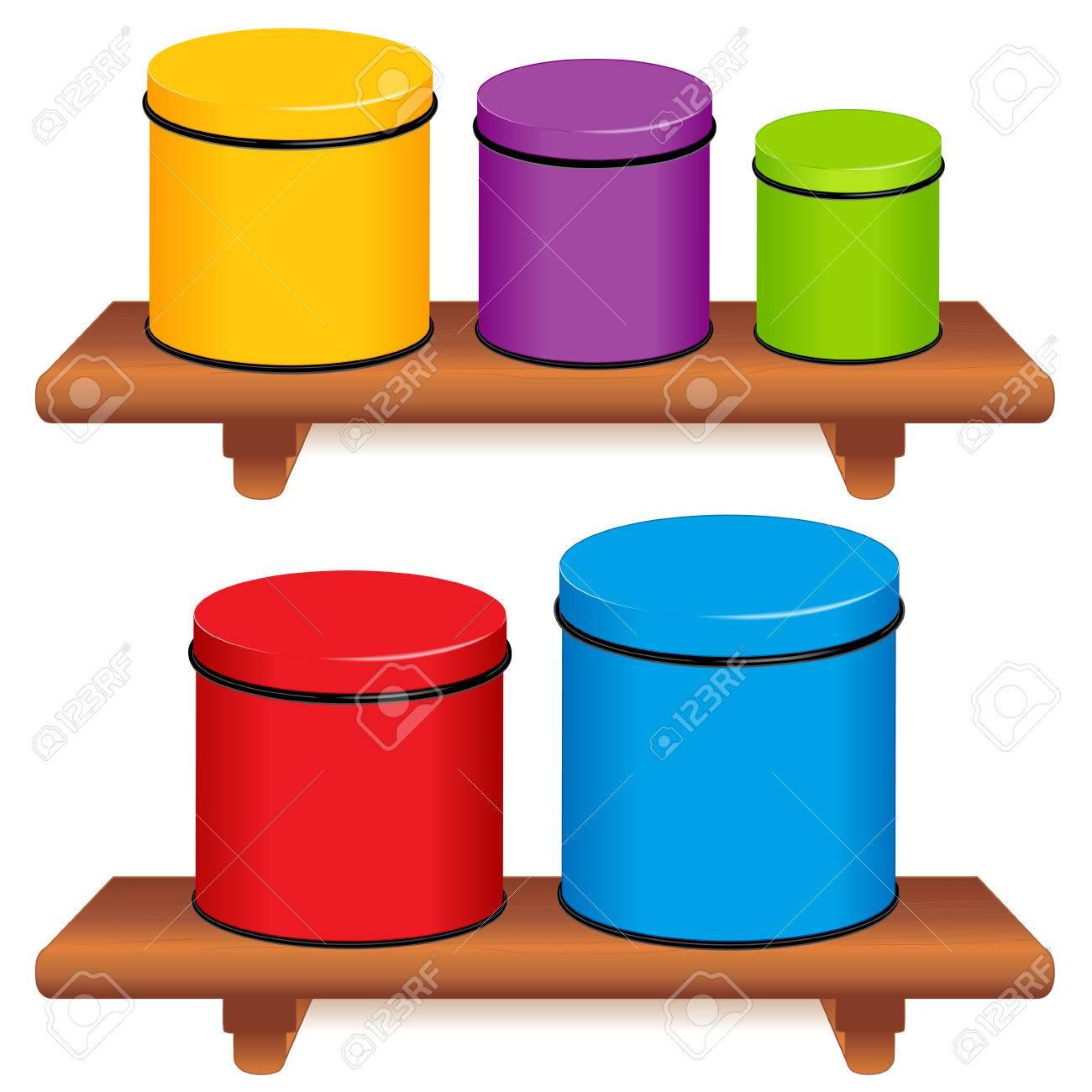 Cocina Juego De Envases, Cinco Colores Contenedores De ...