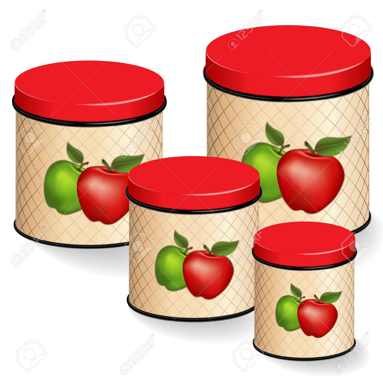 kitchen canisters set red and green apple design on lattice rh 123rf com