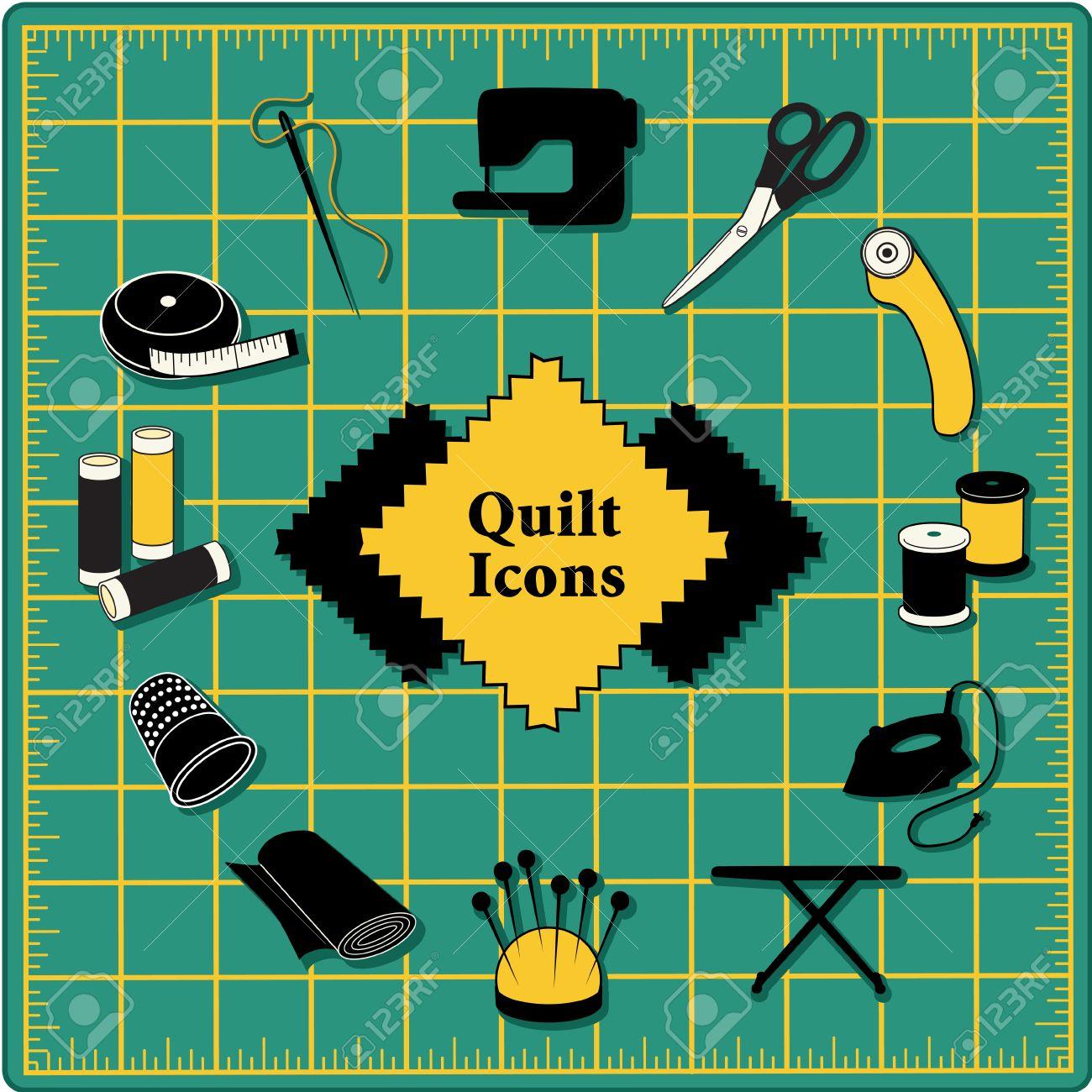 Quilting Icons Für DIY Nähen: Stifte, Nadelkissen, Nadel, Faden ...