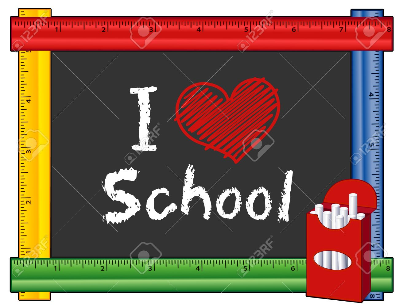 school text box clipart. i love school box of chalk text with big red heart on blackboard clipart