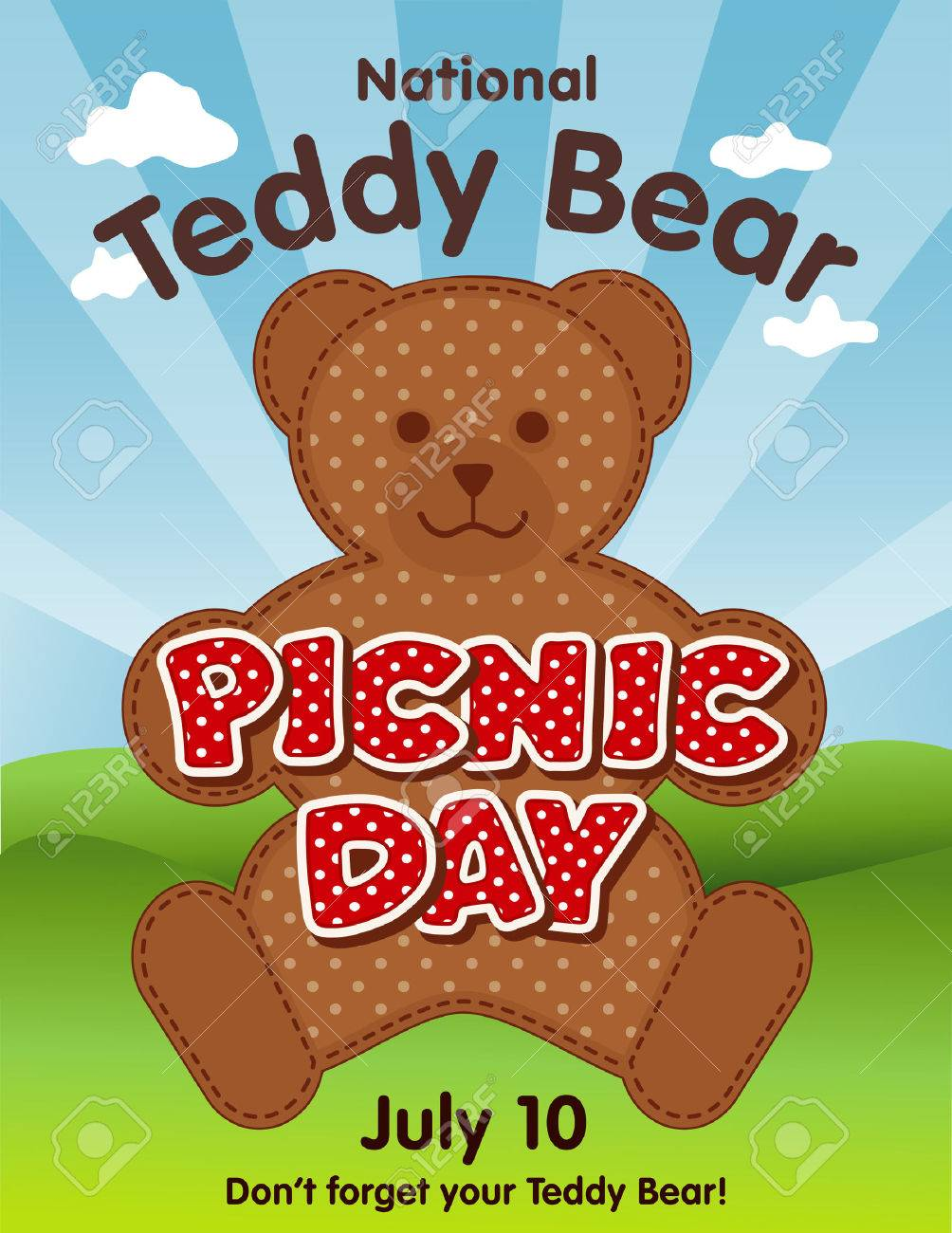 Teddy Bear Picnic Day Poster National Holiday In USA On July 10 When Kids