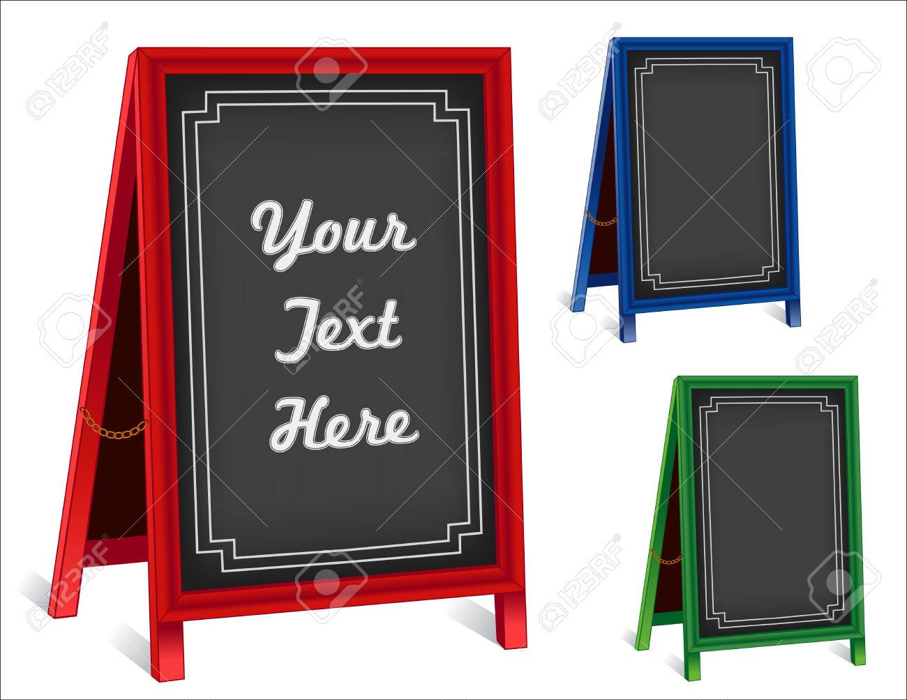 Sidewalk Chalk Board Signs, Three Folding Easels With Brass Chains ...
