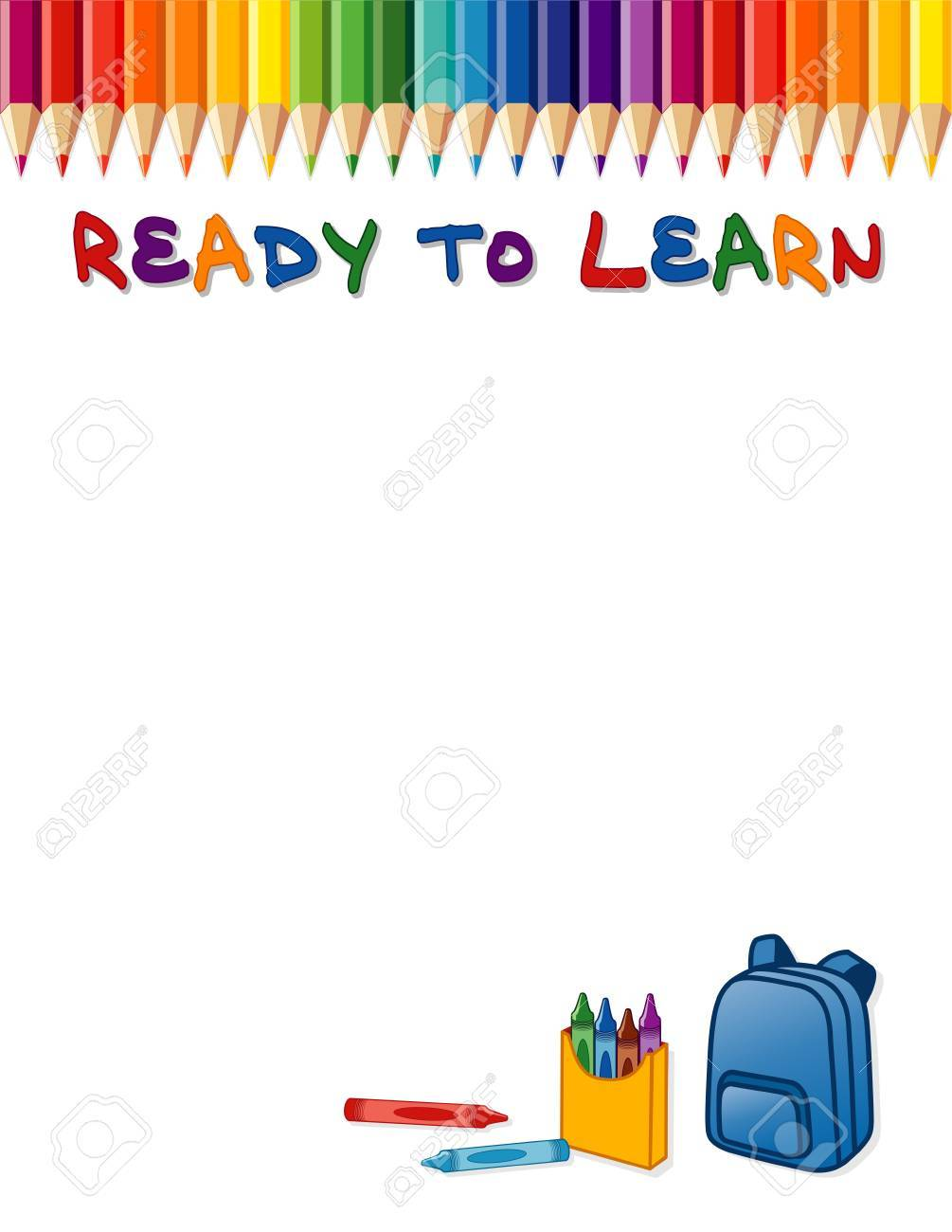 ready to learn poster, rainbow colored pencil border, crayons