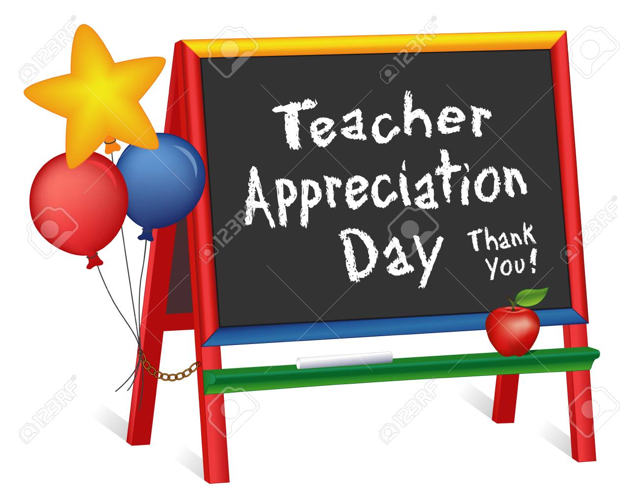 Teacher Appreciation Day, Tuesday of first full week of May, star and balloons, apple for the teacher, thank you, wood chalkboard easel for children, for preschool, daycare, kindergarten, nursery, elementary school, isolated on white background. - 99536254