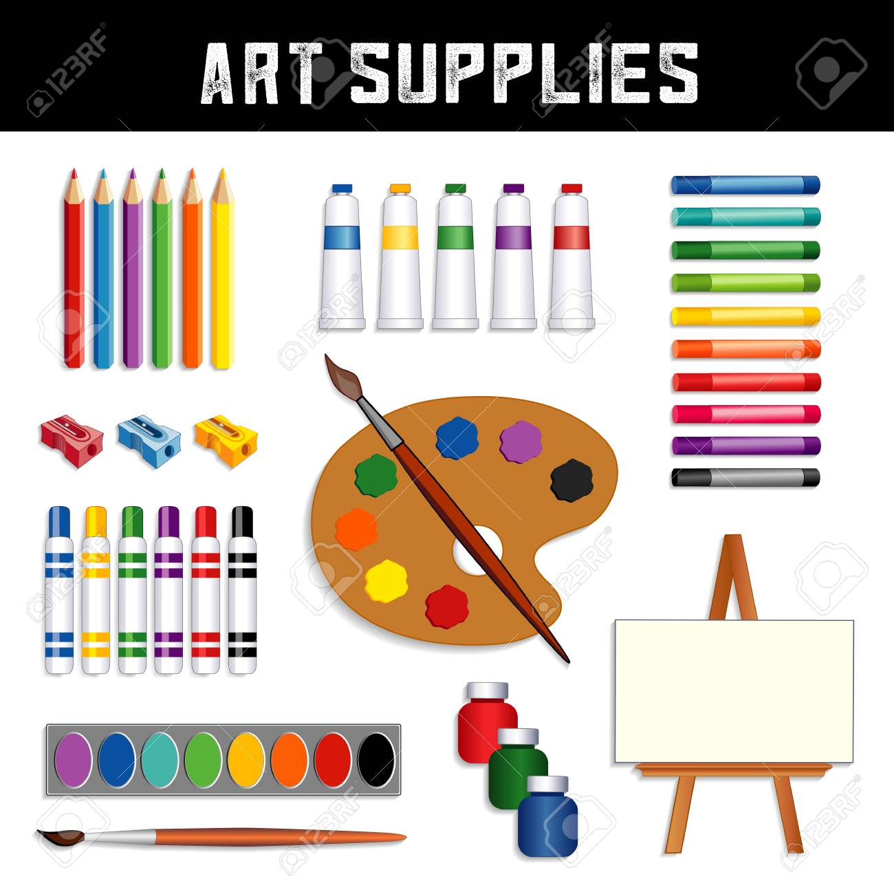Art supplies collection: colored pencils, sharpeners, tubes of paint, oil pastel crayons, felt tip marker pens, watercolors, brushes, artist palette, jars of paint, easel with blank canvas, isolated on white background. - 100255505