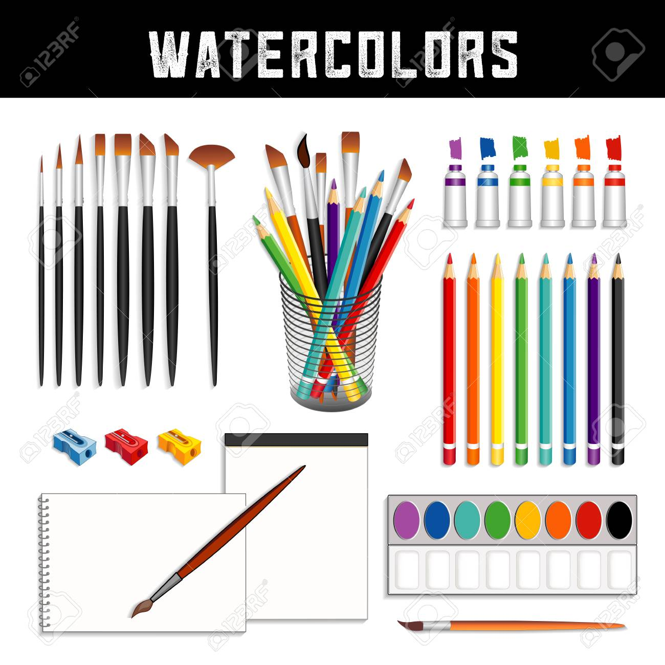 Watercolor tools and supplies: tubes of paints, field box, desk organizer, brushes, pencils, sharpeners and papers for fine art painting and illustration, isolated on white background. - 102211253