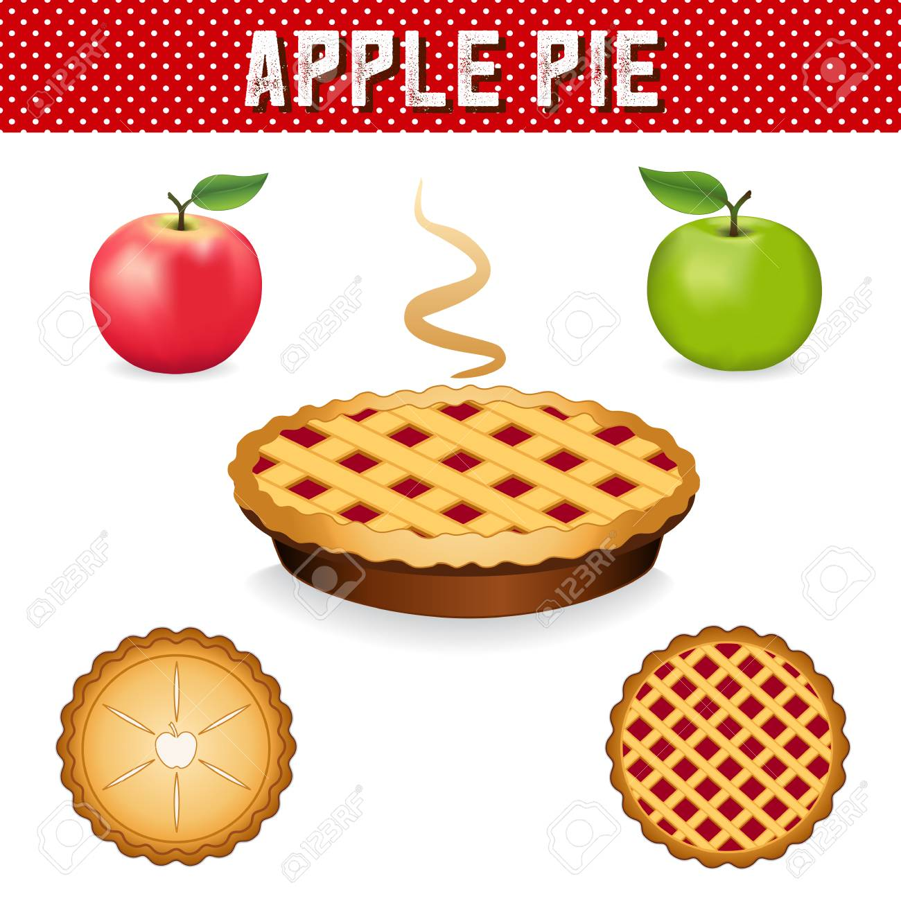 Apple Pie, green Granny Smith and Pink apple fruits, three views, isolated on white background, red polka dot background, eps includes pattern swatch. - 102634601