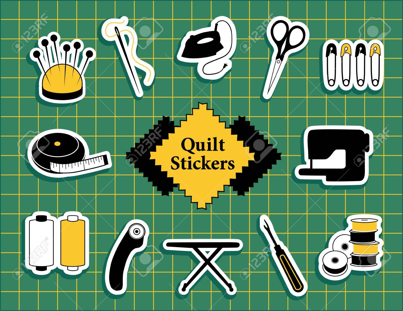 Quilt, patchwork, do it yourself sewing icons - 113931826