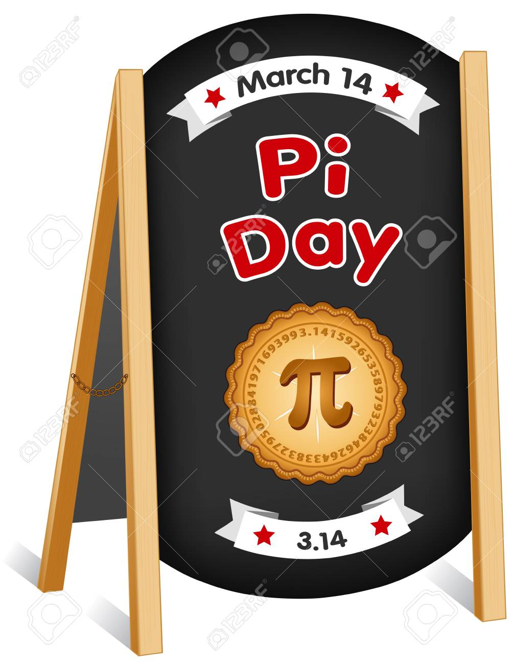 Pi Day, March 14, international holiday to celebrate the mathematical constant pi and eat lots of fresh baked sweet pie, sidewalk chalk board sign, folding easel, brass chain. EPS8 compatible. - 125108991