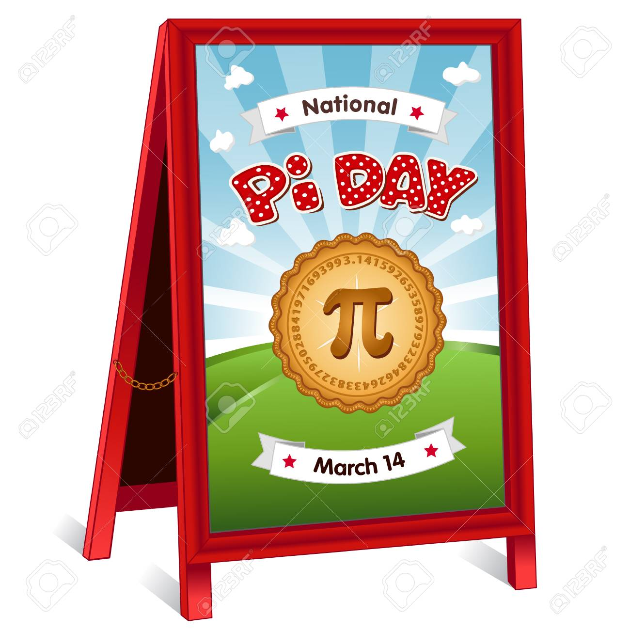 Pi Day, March 14, to celebrate the mathematical constant pi and to eat lots of fresh baked sweet pie, international holiday, red polka dot text, blue sky and clouds background, sidewalk chalk board sign, folding easel with brass chain. - 125108992
