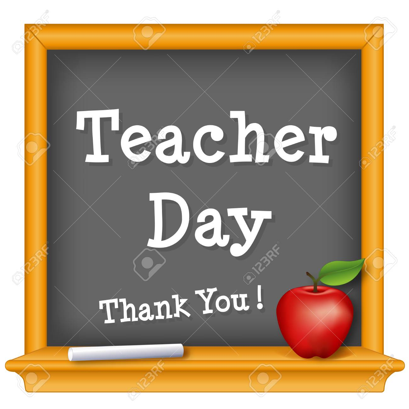 Teacher Day, national holiday on Tuesday of first full week of May, text on wood frame chalkboard, thank you with a big red apple for the teacher. - 121718512