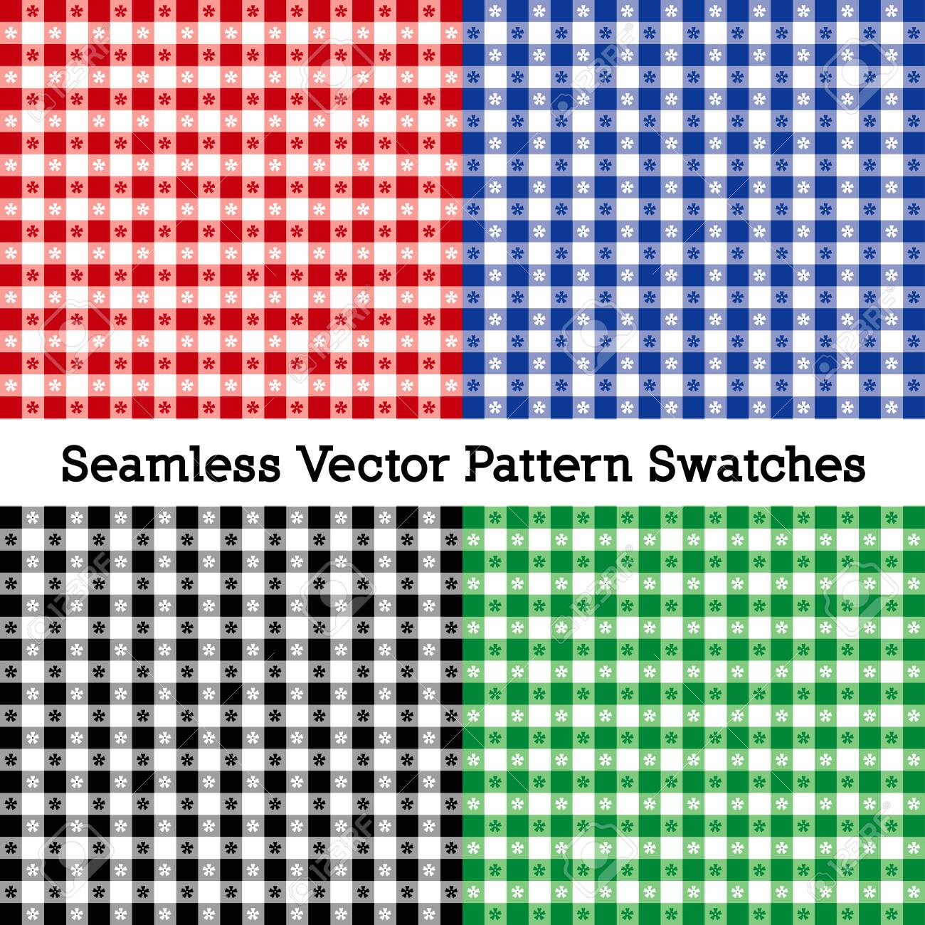 Gingham Seamless Check Patterns includes four pattern that fill any shape - 130224494