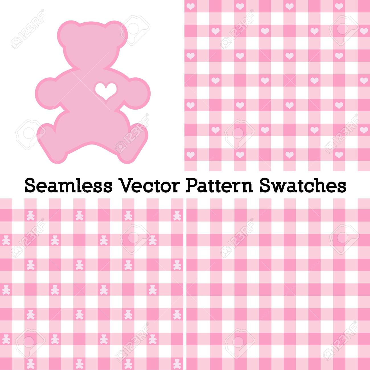 Teddy Bear with a big heart, pastel pink gingham check seamless patterns in three designs. - 130224492