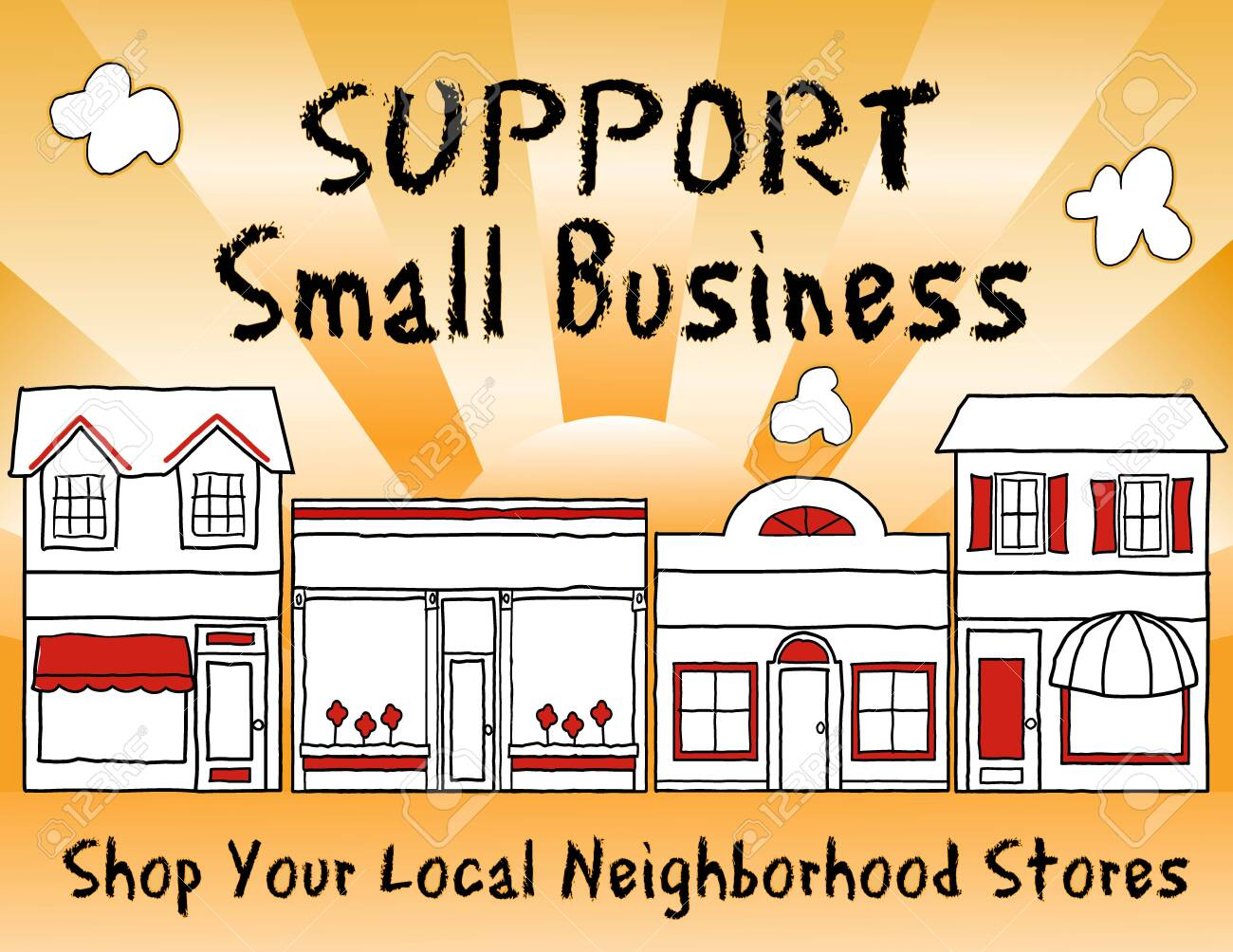 Support Small Business! Shop local, buy local! Shop at neighborhood stores, brick and mortar, mom and pop merchants, community and main street entrepreneurs. Gold background. - 148963934
