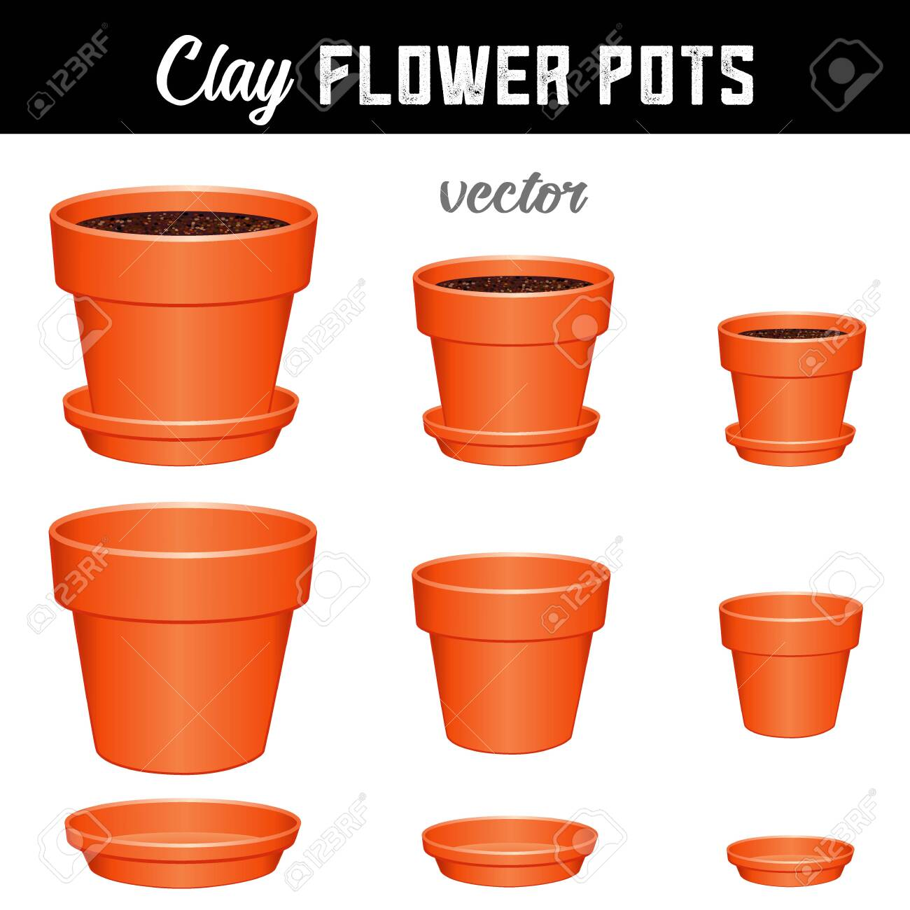 Flower pots, small, medium, large clay garden planters and saucers, separate and combined versions for Do It Yourself garden projects isolated on white background. - 153620715