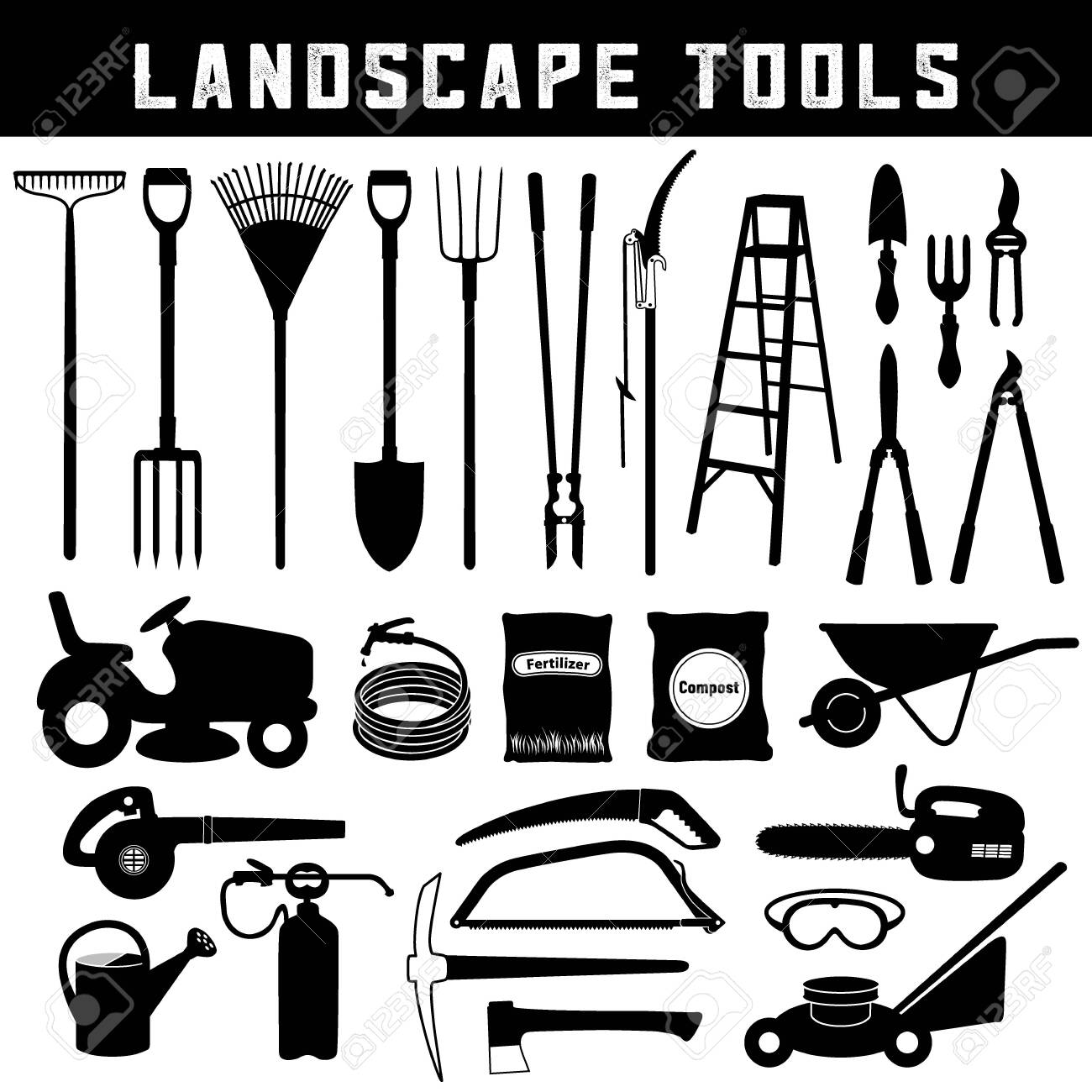 Landscape Tools, Do it Yourself for garden, lawn, grass, trees, orchard care and maintenance, twenty-six silhouette icons isolated on white background. - 154269989