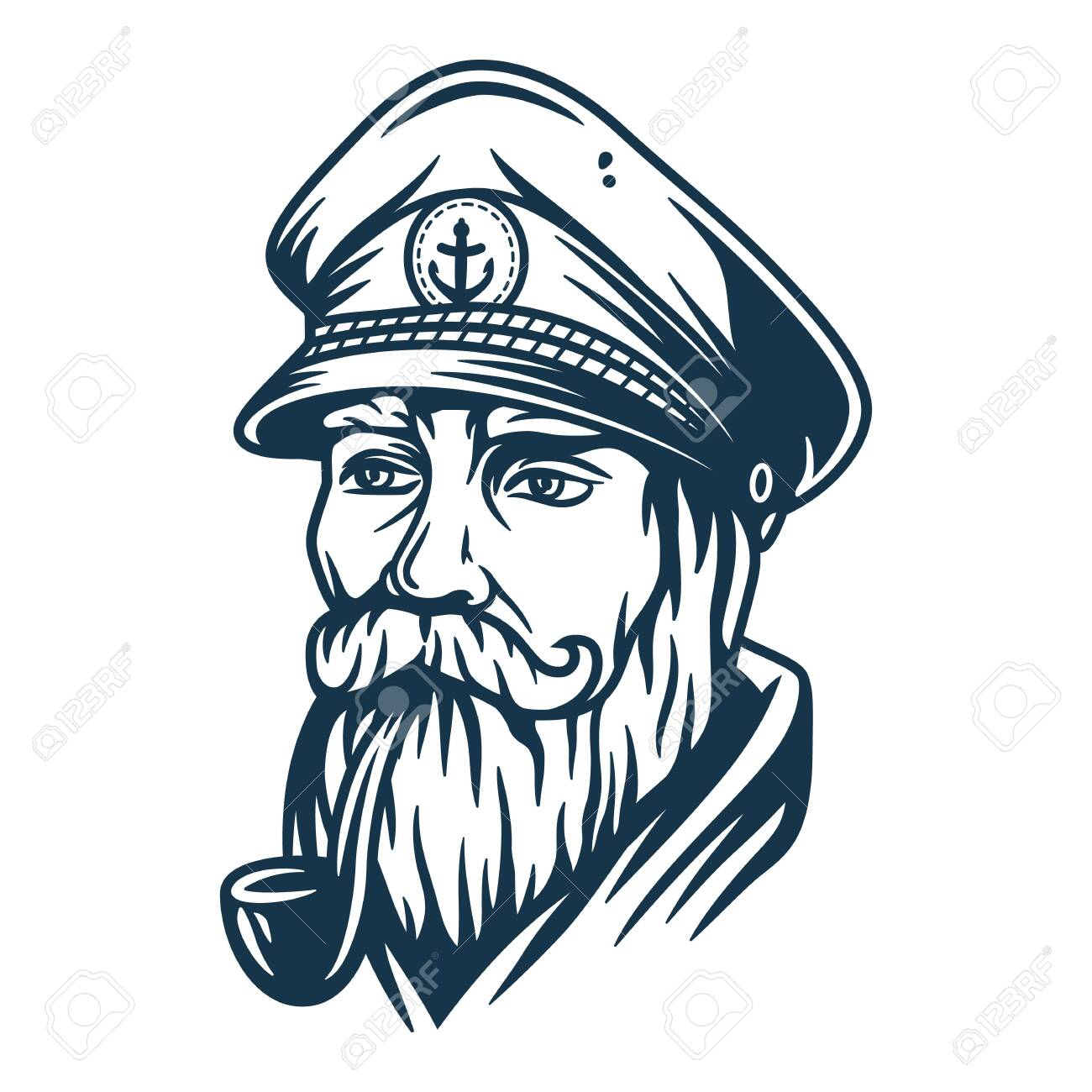 Bearded ship sailor with captain cap and a pipe - 151906100