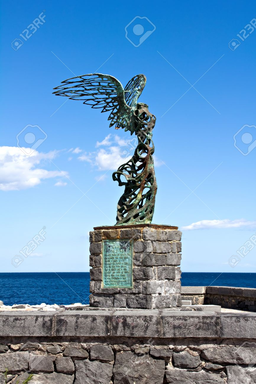 Winged Nike Greek Goddess Of Victory Statue At Sicily Island