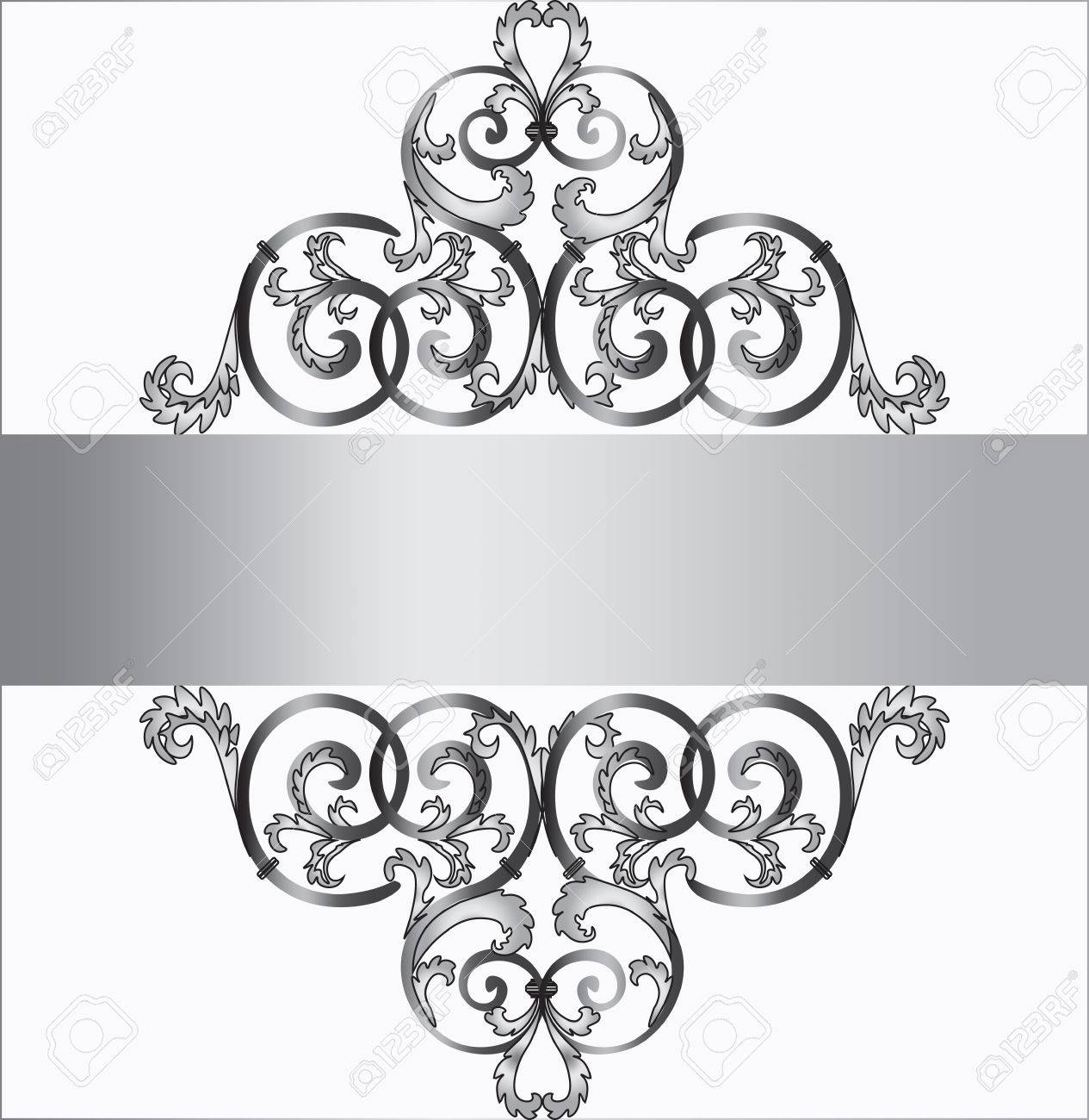 Invitation card in silver with classic royal ornament vector invitation card in silver with classic royal ornament vector stock vector 49362571 stopboris Image collections