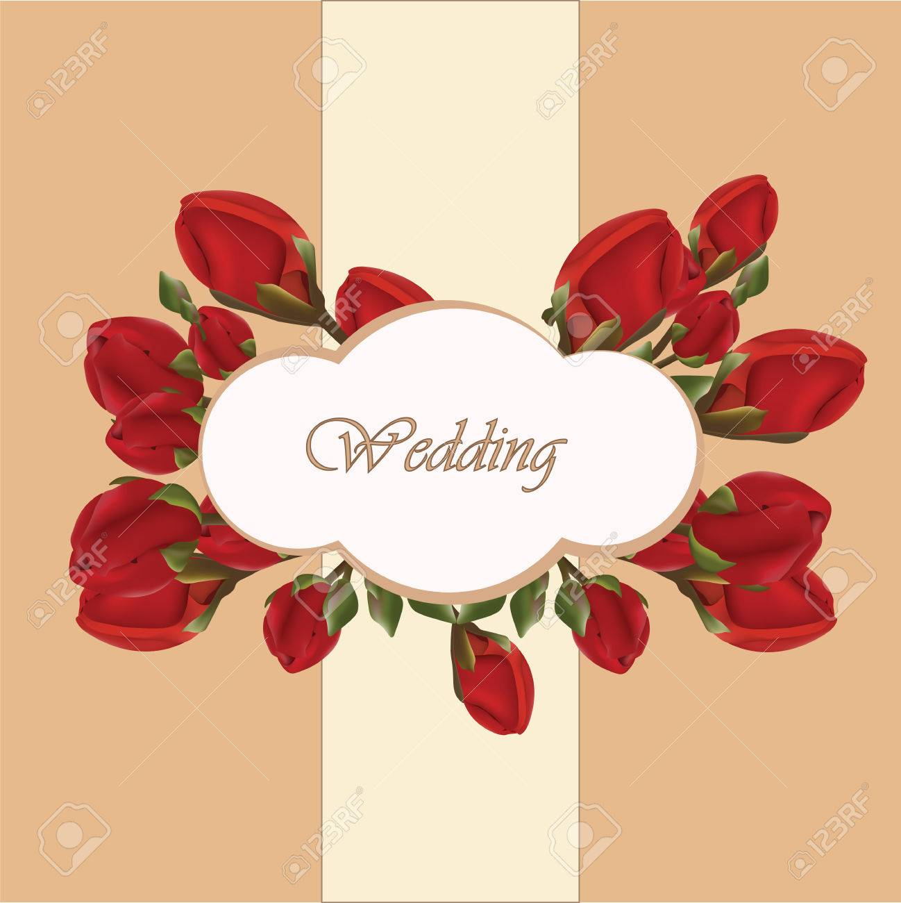 Geranium Flower Wedding Invitation Background In Beige. Vector ...