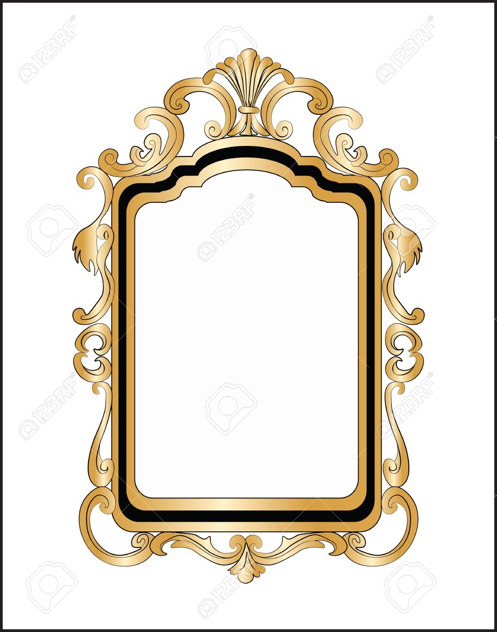 Golden Decor Mirror Frame. Vector Royalty Free Cliparts, Vectors ...
