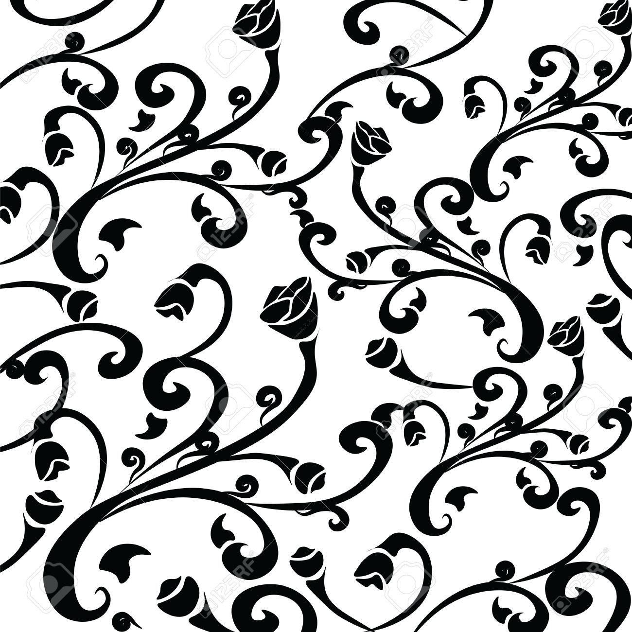 Gothic Style Vintage Floral Pattern In Black And White Composition Vector Stock