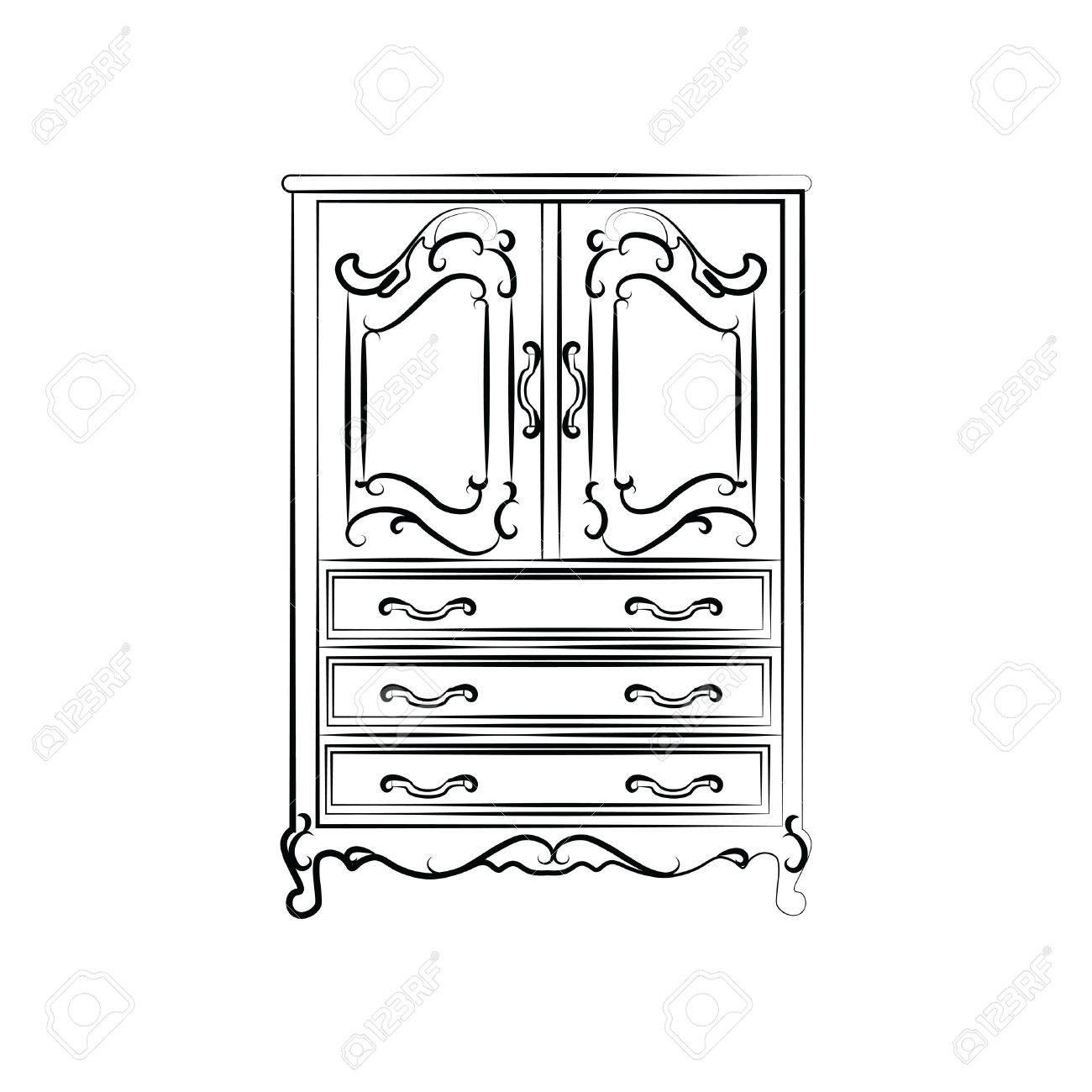 Classic vintage wardrobe sketch. Vector - 50700078