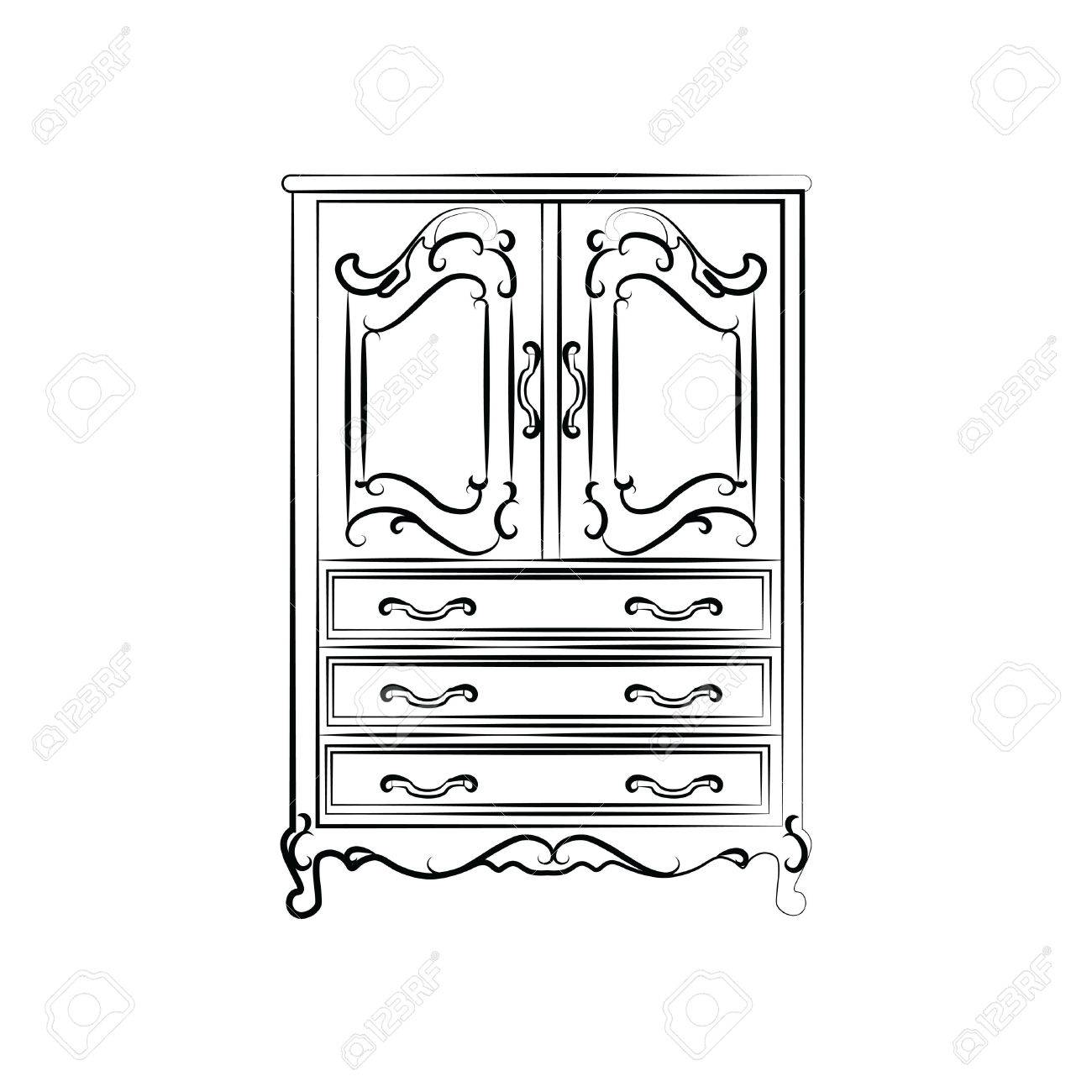 Wardrobe clipart black and white  Classic Vintage Wardrobe Sketch. Vector Royalty Free Cliparts ...