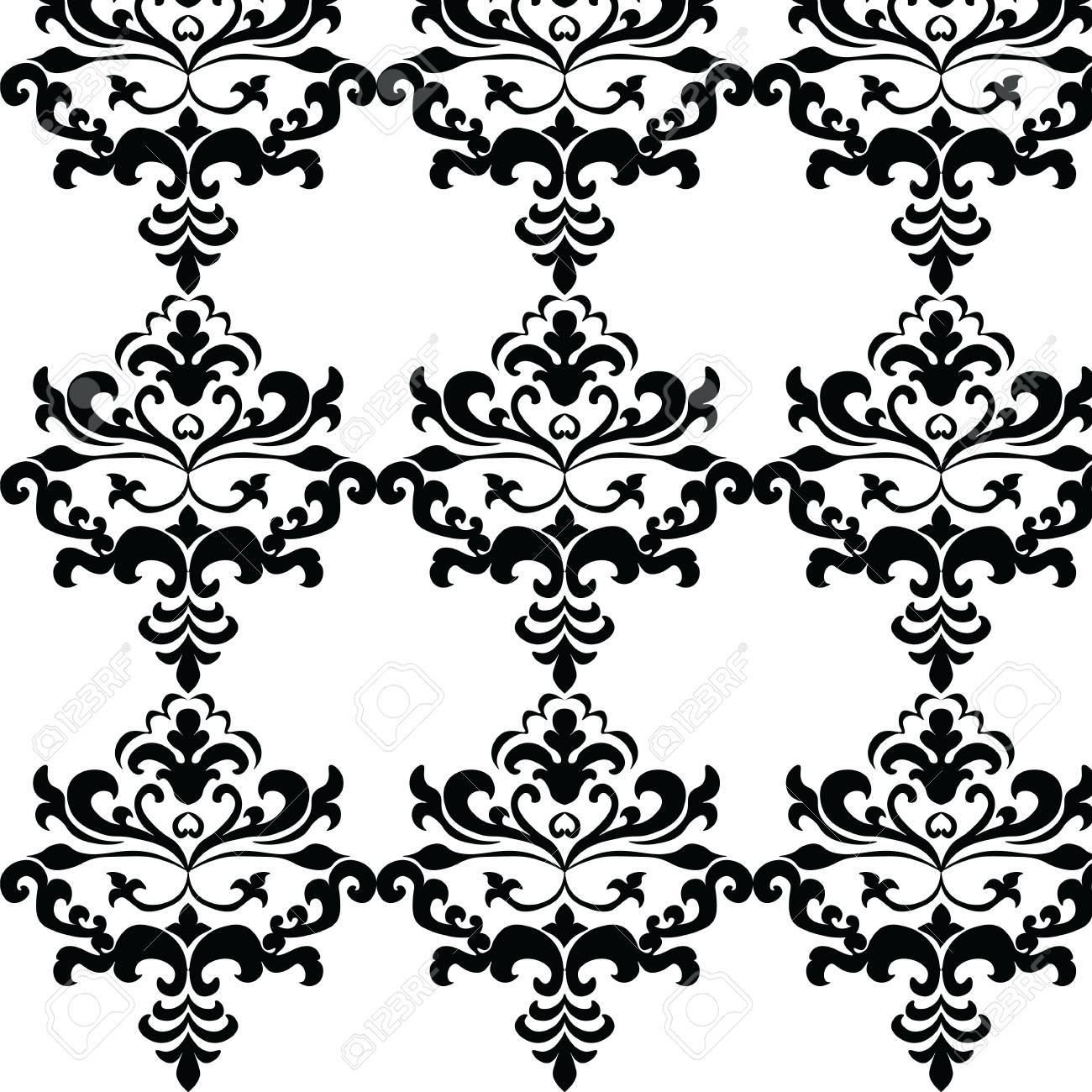 Classic Gothic Style Ornament Pattern In Black And White Vector Stock