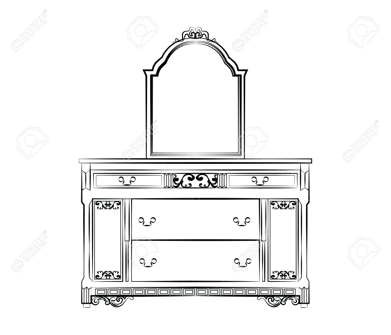 Dressing table with mirror in classic baroque style  Vector sketch