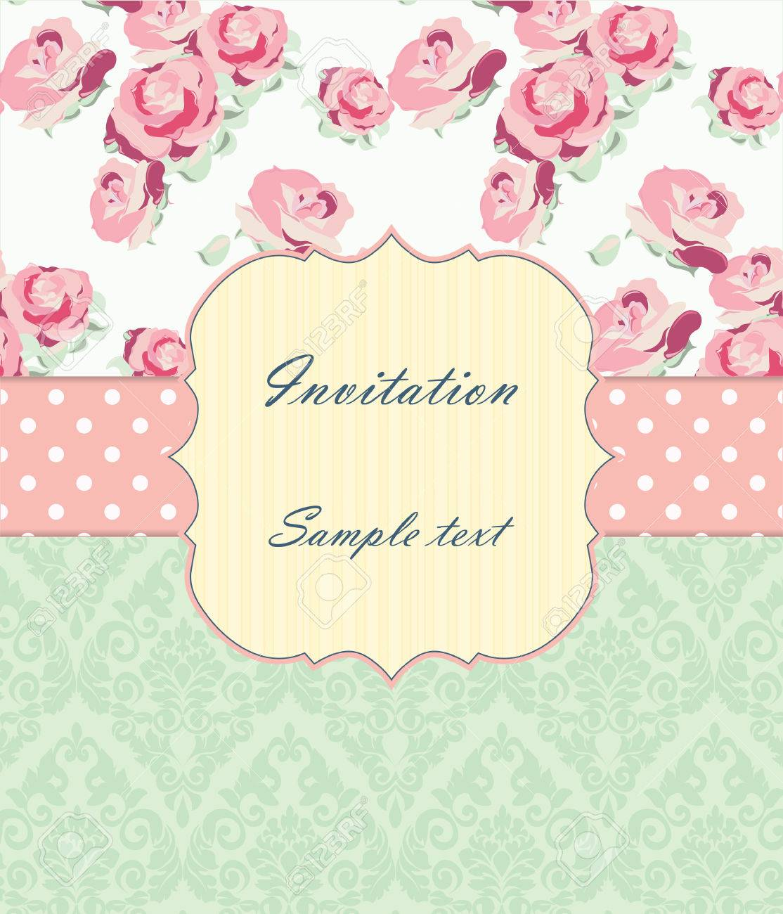 Wedding Invitation Card With Vintage Ornaments And Roses. Shabby ...