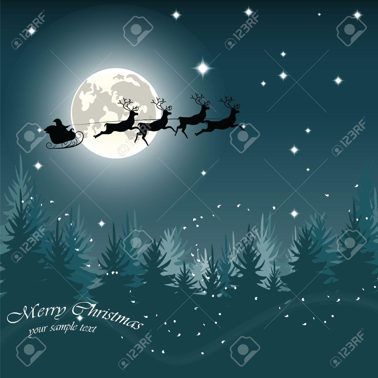 Carte Du Réveillon De Noël Avec Traîneau Et Les Rennes De Vol Du