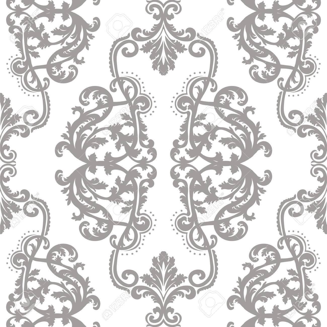 Standard Bild   Vektor Jahrgang Damast Barocke Muster Tapete Ornament  Empirestil. Aufwändige Blumenelement Für Gewebe, Design,  Hochzeitseinladungen, ...