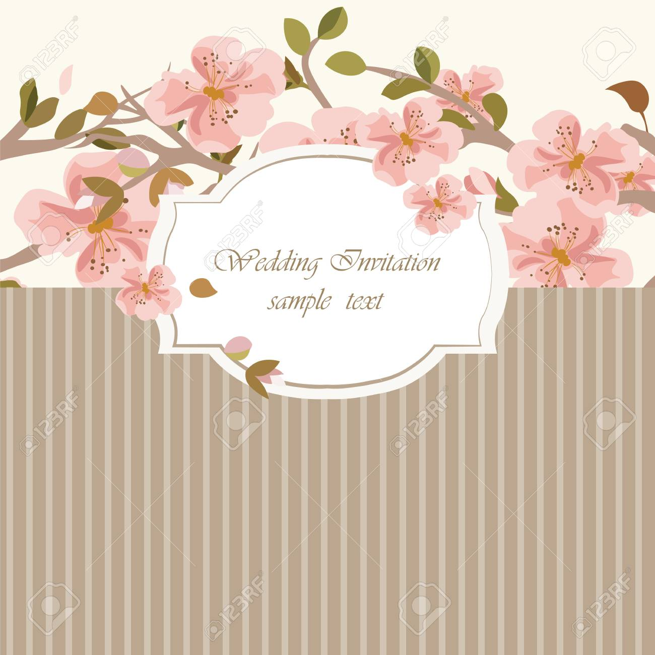 Vintage invitation card with watercolor flowers background spring vector vintage invitation card with watercolor flowers background spring blooming apple flowers flower blossom tree branch stopboris Images