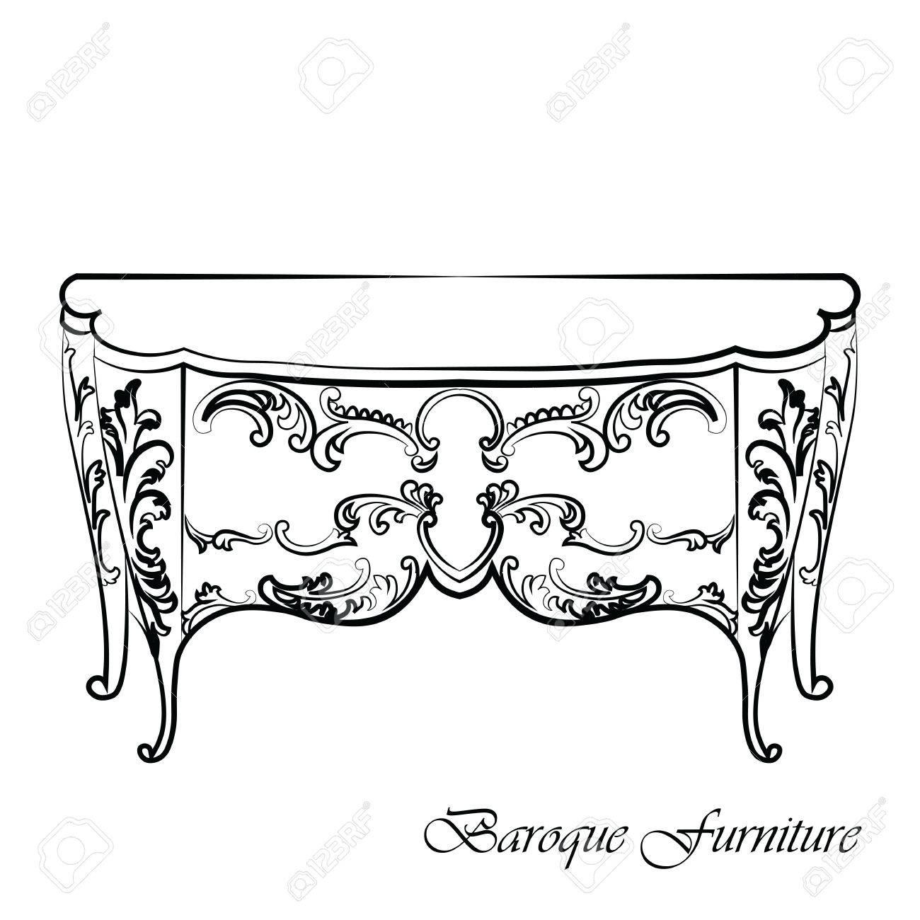 Barock Vector Klassische Kommode Tisch Mobel Mit Royal Luxury