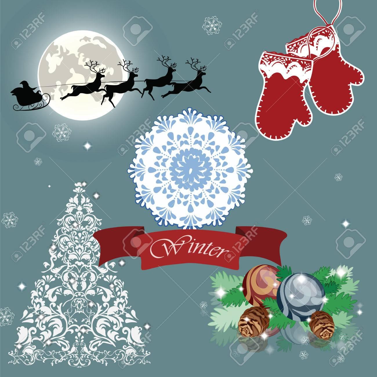 Carte De Réveillon De Noël Avec Le Traîneau Et Le Renne Du Père