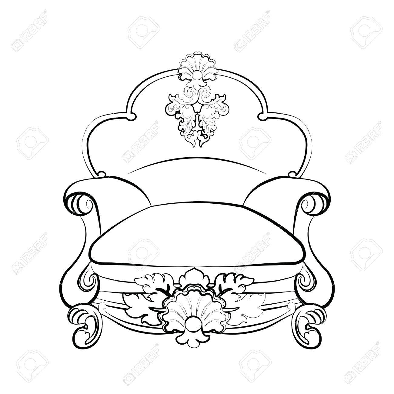 Rococo furniture sketch - Imperial Royal Armchair With Luxurious Rococo Ornaments Vector Sketch Stock Vector 58419508