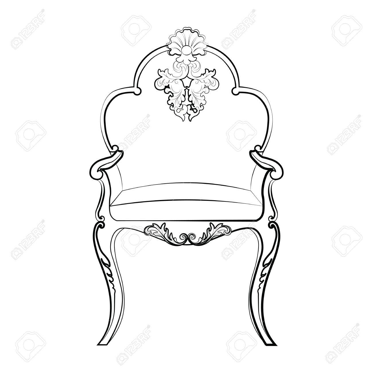 Rococo furniture sketch - Imperial Royal Chair With Classic Rococo Damask Ornaments Vector Stock Vector 58419623