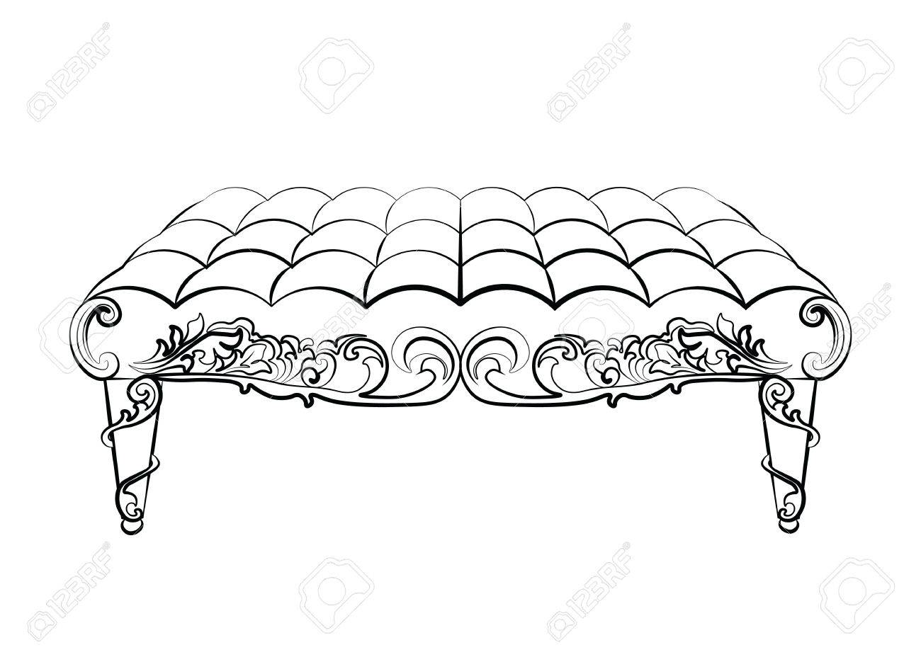 Rococo furniture sketch - Bench Furniture In Classic Rococo Style Ornament Vector Sketch Stock Vector 58420490
