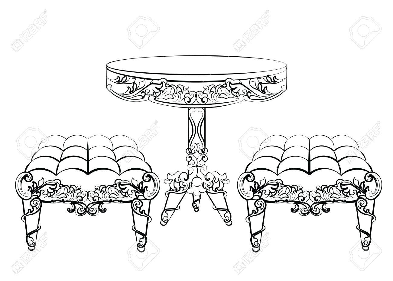 Rococo furniture sketch - Furniture In Classic Rococo Style Ornament Vector Sketch Stock Vector 58421870