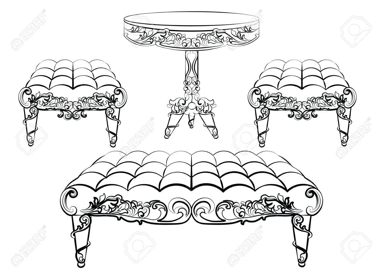 Rococo furniture sketch - Furniture In Classic Rococo Style Ornament Vector Sketch Stock Vector 58421981