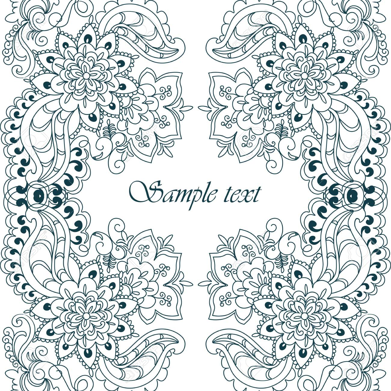 Vector Floral Lace Pattern In Oriental Style. Ornamental Lace ...